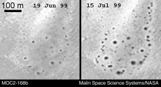Changing dark spots on Mars