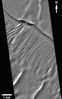 Erosion channels in Russell Crater