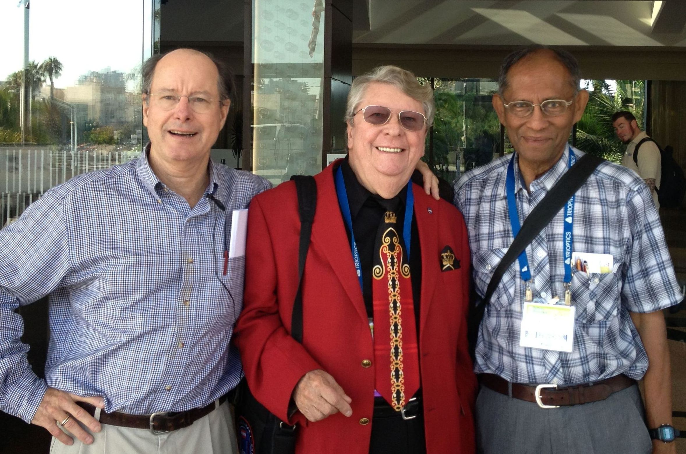Brig Klyce, Richard Hoover, Chandra Wickramasinghe at the SPIE Convention, 28 Aug 2013. Date was in my cellphone!